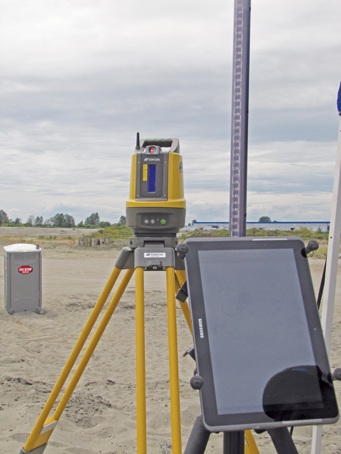 What looks like a construction laser is actually a high-precision robotic total station, optimized for site conditions, that can be operated from conventional data collectors as well as multiple types of mobile devices and tablets. The operator sites through the video camera on the total station—no onboard optical eyepiece.