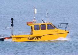 """A survey vessel with the RTK Bridge installed served as our base, capturing and rebroadcasting RTK network corrections to our second vessel equipped with a rover."""