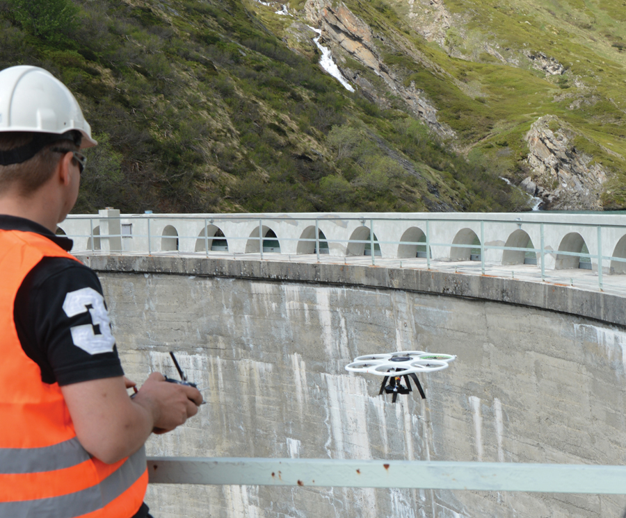 A dam inspection using the Aibot x6. Inspections are an increasingly popular application for  rotorcraft UAS.