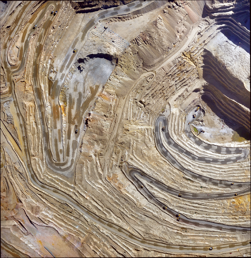 An orthophotograph of an open pit mine taken with a modern UAV.