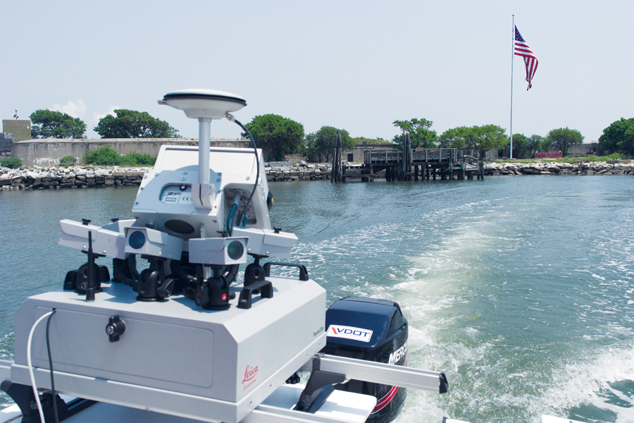 Our Leica Pegasus: One mobile mapping system was boat-mounted to scan the shoreline along the southern Island.
