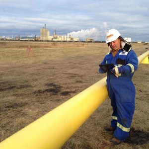 Enmapp employee inspects pipeline using TerraGo