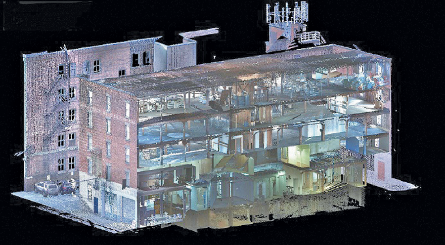 With advanced data management and toolsets that allow the streaming of entire project point clouds into the design environments of AutoCAD Civil 3D, Revit, and Navisworks, designers don't have to balance between point cloud density and computer performance. Image courtesy of Olsson Associates.