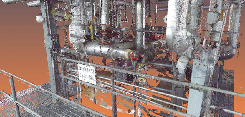 A 3D laser scan inside a facility, which will be processed into a BIM 3D model. Credit: 3CON, LLC