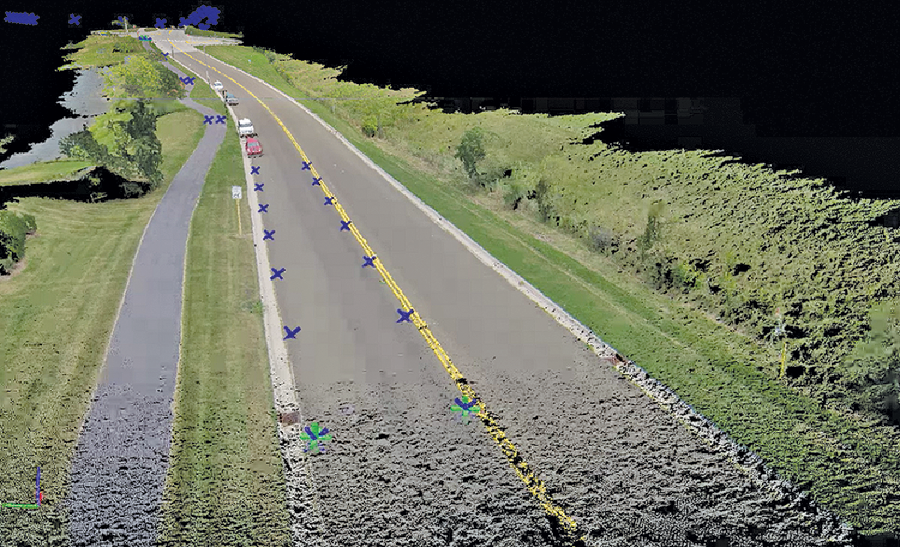 Point cloud and ground control for a bike path redesign; imagery was flown via UAS.