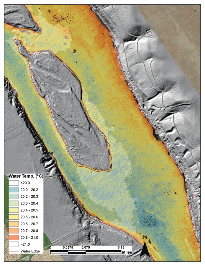 TIR image mosaic draped over a detailed topographic and bathymetric terrain model derived from water-penetrating lidar in the Snake River, Idaho. (Courtesy: The Freshwater Trust and Idaho Power Company).