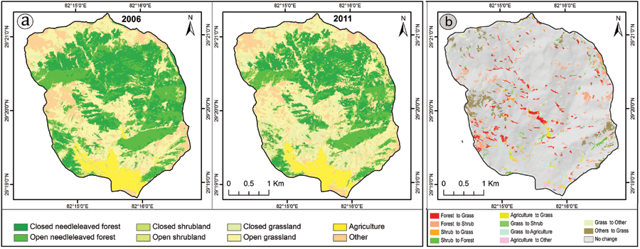 Maps of the Lorpa watershed show land cover in 2006 and 2011 (A) and land cover change from 2006 to 2011 (B). Based on eCognition's analysis, the Lorpa watershed lost 12% tree canopy between the two years.