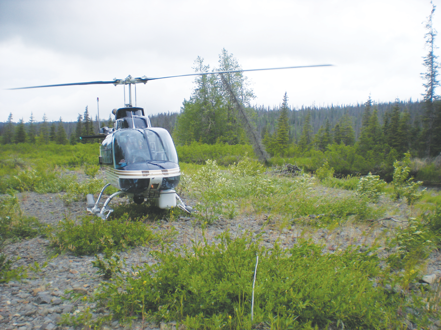 TIR helicopter platform landing by a streambed in Alaska. Data were collected by QSI for Cook Inletkeeper to understand cold water inflows and thermal refugia for fish.