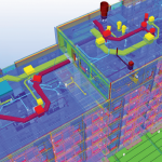 A 3D model combines building structure, systems, and site data.