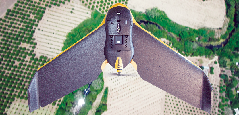 This eBee Ag is outfitted with the Sequoia multispectral sensor.