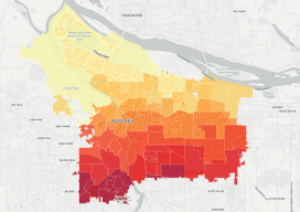 This choropleth map of the distribution of street trees by neighborhood in Porland, Oregon, was created in CartoDB in eight minutes, using public data.