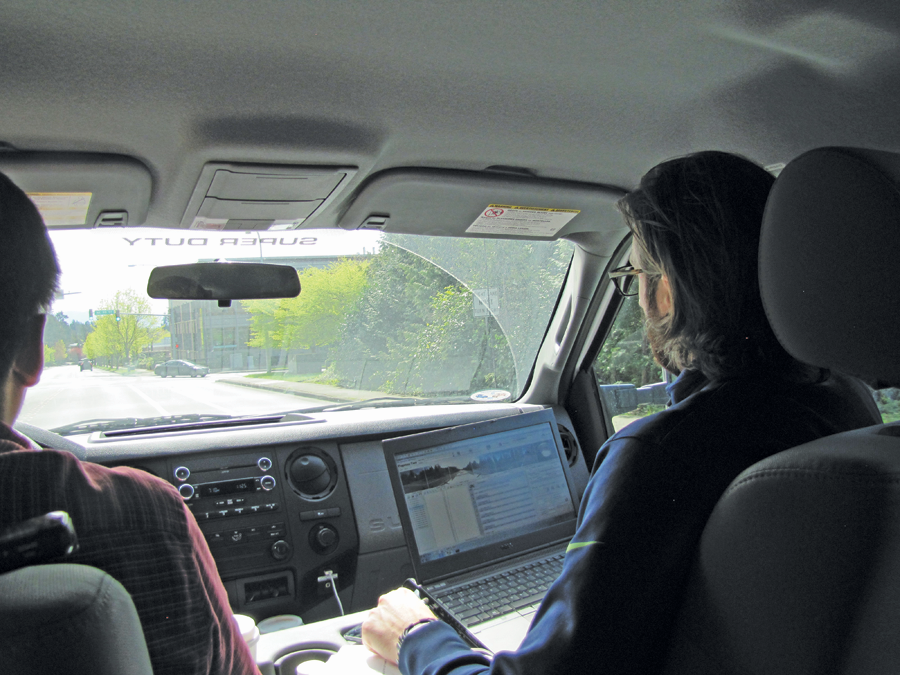Tetra Tech's Peg-2 Live Crew: Baines drives while Wilson operates the system and provides driving directions.