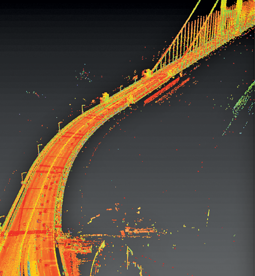 An approach to the Golden Gate Bridge was mapped at highway speed; with integrated GNSS-INS, ground control, video log, and lidar, such systems are capable of providing design-grade 3D topographic models.