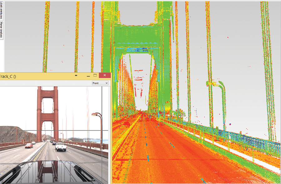 Transcend Spatial Solutions mapped Francisco with their Pegasus:Two system. Example views from the mapping interface show the video log and lidar point cloud.