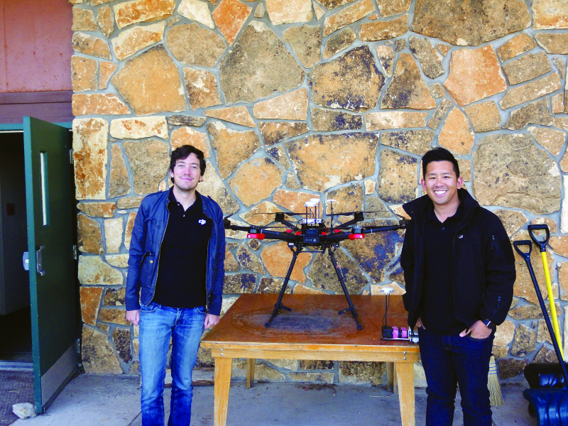 Randall Warnas and Tim Nguyen of DJU with the firm's new Matrice 600, a professional-grade RTK hexacopter