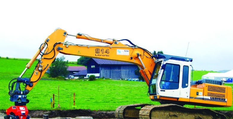 A Liebherr excavator equipped with MOBA assisted guidance.
