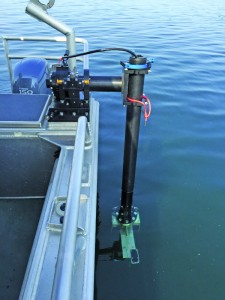 The port side mount with a Simple MEMs sensor attached to the sonar bracket during initial testing.