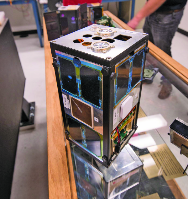 This is one of Aerospace's CubeSat-like nano satellites, ejected into space by the U.S. Space Shuttle Atlantis on the last Shuttle flight in 2011. Source: The Aerospace Corporation.