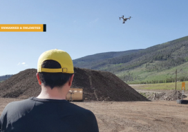 IST Aerial's Bo LeRoy uses the firm's DJI Inspire One to collect data for volumetric calculations for compost piles located on a landfill in Colorado.