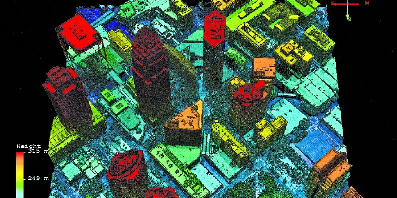 A Geiger lidar image of downtown Charlotte, North Carolina