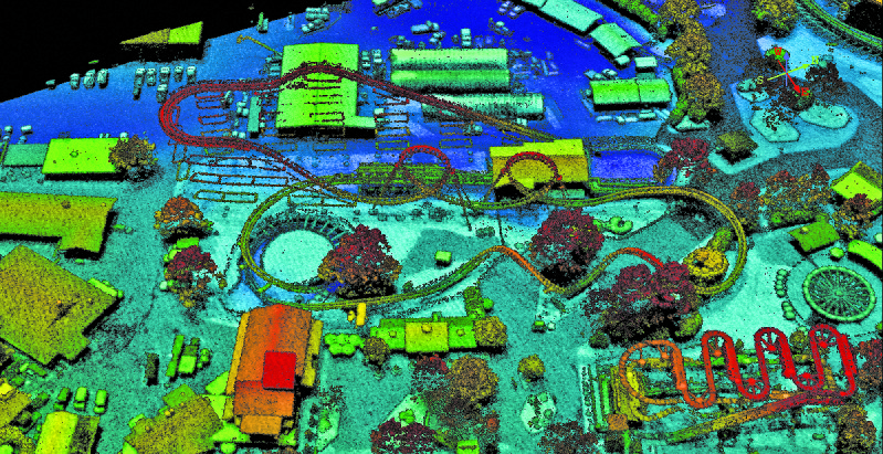 A Geiger lidar image of the Carowinds amusement park in Charlotte, North Carolina.