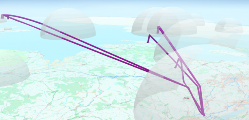 flight-paths for wind farm analysis ArcGIS
