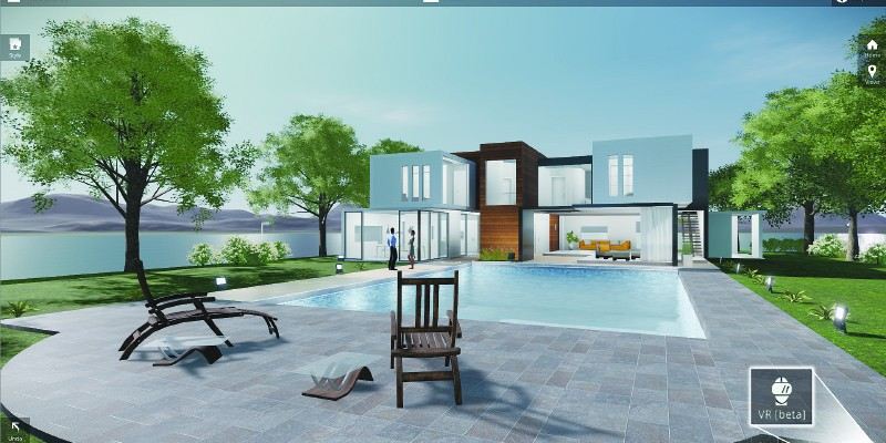simulated landscape with architecture, modern home and pool by lake