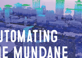 Automating the mundane banner, purple digital cityscape disintegrating