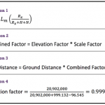 Equations 1, 2, 3 & 4: combined factor grid distance, elevation factor