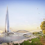 Lakhta Centre concept art with parkland, tower and bridge, russia
