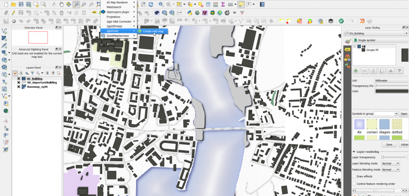 QGIS digital mapping UI