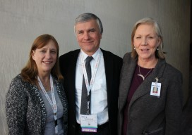 Making the announcement of the collaboration between ASPRS and ILMF to co-host their events next February in Denver, CO, are Karen Schuckman, CP, PLS, representing ASPRS, Lisa Murray, representing Diversified Communications parent company of ILMF, and ASPRS Chairman Charles Toth.