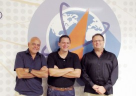 Interviewed during our visit to Hemisphere GNSS's headquarters, left to right: JosŽ Brice–o, senior VP of business development; Rodrigo Leandro, senior director of engineering, and Randy Noland, VP, global sales and marketing.