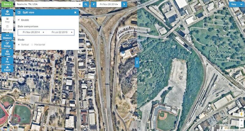 The MapBrowser user interface provides the ability to compare imagery over time to see change.