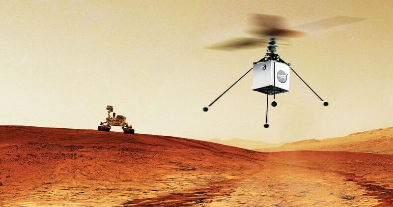 The 1Kg Mars Helicopter Scout may launch with the M2020 mission and is designed to provide advanced mapping to assist ground rover navigation, xyht february 2017