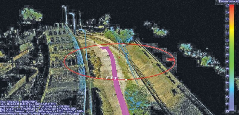Using a mobile mapping system, Construction CAD Solutions can generate high-accuracy point cloud data--in multiple views, as shown above and at left--to assist in its utility design function.