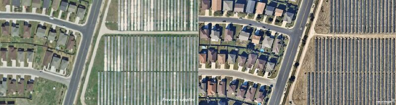 A comparison of Nearmap imagery (right) to older, lower-resolution satellite imagery (left).