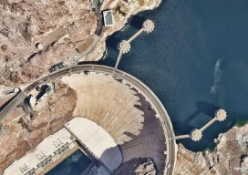 "Nearmap high-resolution aerial imagery of the Hoover Dam at 2.8"" GSD."