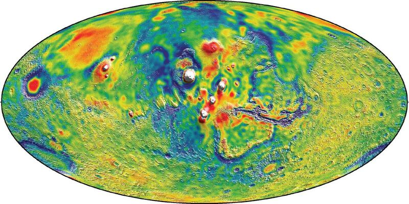 "Improved geoid (or ""areoid"" for Mars) models have been developed recently using Doppler and range tracking of orbiter spacecraft. Credit: NASA."