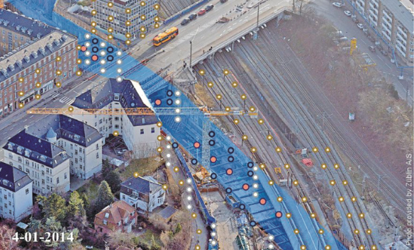 An aerial view of part of the Nordhavnsvej construction; colored dots indicate sensors and measurement points on buildings and transportation infrastructure.