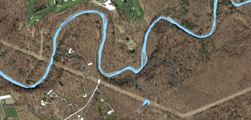 This hydrologic feature extraction is of a stream and associated drainage and creeks.