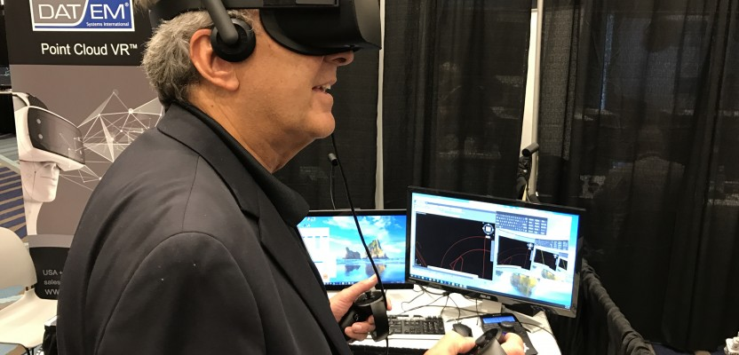 Geoff Jacobs tries out DAT/EM's VR tool at SPAR 2017