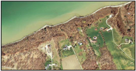 An extracted elevation line shows the Lake Erie coast bluff line.