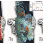 Different visualizations of the same VNIR+SWIR hyperspectral image (of Wizard Island, Crater Lake, OR) draped over a lidar bare-earth digital elevation model. The variation in vegetation, snow, soil/geologic cover, and even water properties can be highlighted with different combinations of spectral wavelength images.
