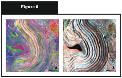 HSI from Pinto Mine, AZ. The left image shows a principal component transformation used to distinguish minerals on the surface; the right image shows a visible image at 0.5m spatial resolution.