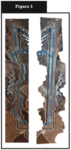 A wiggly flight line over the Susanville, CA airport. The left image shows the raw, unrectified imagery during a flight line in which the pilot rolled the wings back and forth.