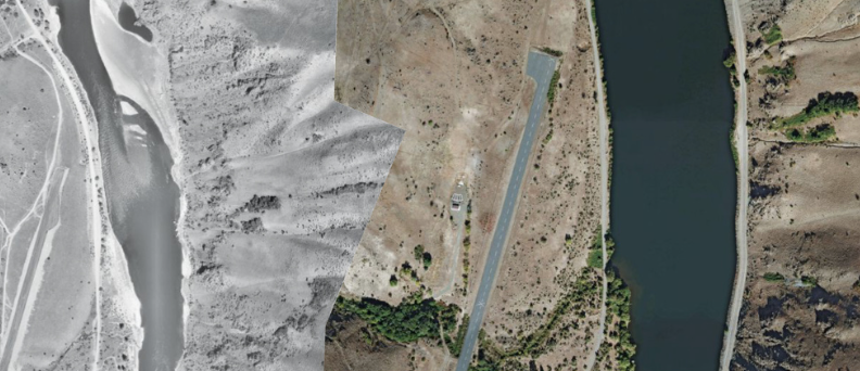 Left: Snake River imagery from 1959; right: from 2009.