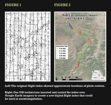 Left: The original flight index showed approximate locations of photo centers.   Right: Our GIS technicians inserted and scaled the index over Google Earth imagery to create a new digital flight index that could be used in aerotriangulation.
