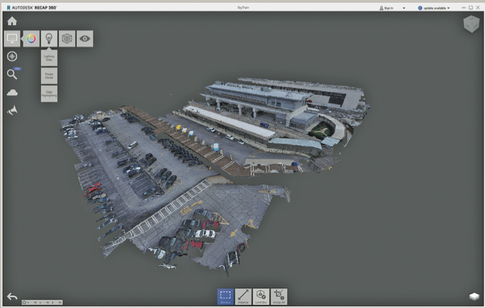 The 3D point cloud of the passenger drop off area and Skytrain collected with the 3DR Site Scan drone, shown here using Autodesk's Recap 360 Pro software.