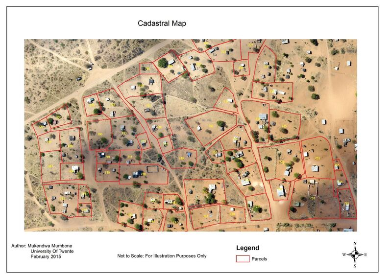 Sample of cadaster work done in Namibia, drawn on a Pix4D orthomosaic with resolution of less than 5 cm.